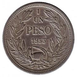 Coin > 1peso, 1933 - Chile  - reverse