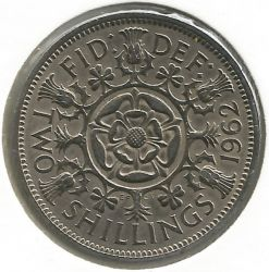Coin > 2 shillings (florin), 1962 - United Kingdom  - obverse