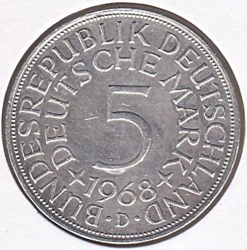 5 Mark 1968 Deutschland Münzen Wert Ucoinnet