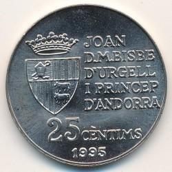 Moneda > 25céntimos, 1995 - Andorra  (50 Aniversario de la FAO - Alimentos para el mundo) - reverse