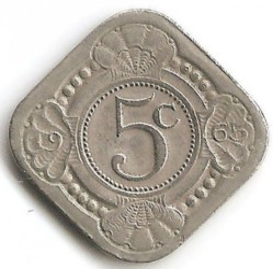 Moneta > 5centesimi, 1957-1970 - Antille Olandesi  - obverse