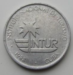 Monēta > 1sentavo, 1988 - Kuba  (INTUR: Arabic numerals, Aluminum) - obverse