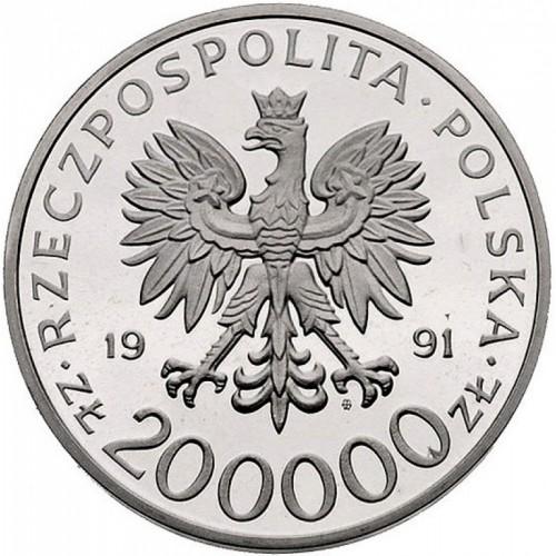 200000 Zloty 1991 Leopold Okulicki Polen Münzen Wert Ucoinnet