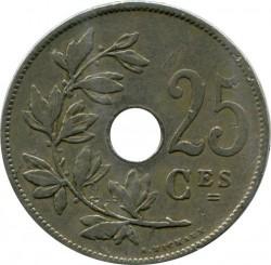 "Minca > 25centimes, 1908-1909 - Belgicko  (Názov vo francúzštine - ""BELGIQUE"") - obverse"