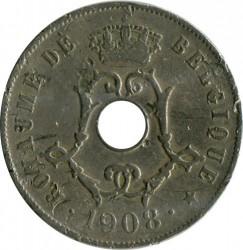 "Minca > 25centimes, 1908-1909 - Belgicko  (Názov vo francúzštine - ""BELGIQUE"") - reverse"