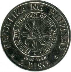Moneda > 2pesos, 1992 - Filipinas  (Centenario del Movimiento Nacional - Manuel A. Roxas) - obverse