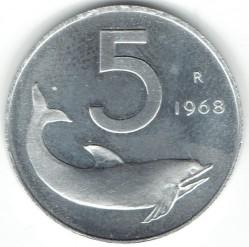 سکه > 5لیره, 1968 - ایتالیا  - reverse