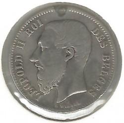 Minca > 50centimes, 1866-1899 - Belgicko  (Legend in French - 'DES BELGES') - obverse