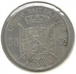 Minca > 50centimes, 1866-1899 - Belgicko  (Legend in French - 'DES BELGES') - reverse
