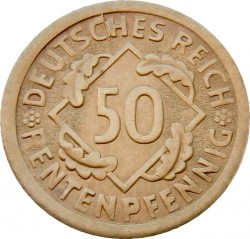 Moneda > 50rentenpfennig, 1923-1924 - Alemania  - reverse