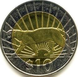 Moneda > 10pesos, 2011-2015 - Uruguay  - reverse