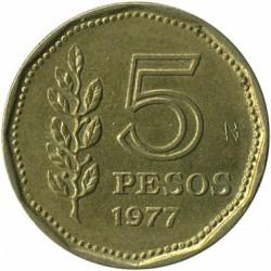 Moneda > 5pesos, 1977 - Argentina  (200 Aniversario - Nacimiento de Guillermo Brown) - reverse