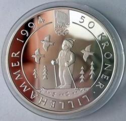 Moneta > 50corone, 1991 - Norvegia  (XVII Winter Olympic Games, Lillehammer 1994 - Child skiing) - reverse