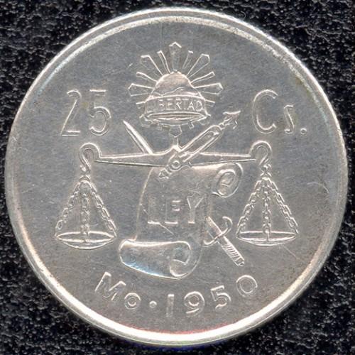 1950 1951 1952 1953 Mexico 25 Centavos .300 Silver 4 coin set KM 443 C824