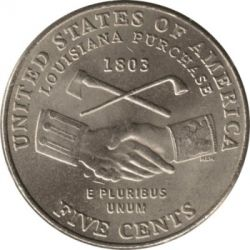 Monēta > 5 centi, 2004 - ASV  (Bicentenary of Lewis and Clark Expedition - Lousiana Purchase) - reverse