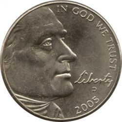 מטבע > 5 סנט, 2005 - ארצות הברית  (Bicentenary of Lewis and Clark Expedition - Ocean View) - obverse