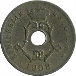 Munt > 25centimes, 1908 - Belgie  (Legend in Dutch - 'BELGIË') - obverse
