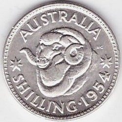 Монета > 1шилинг, 1953-1954 - Австралия  - obverse