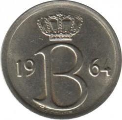 Moneta > 25centymów, 1964-1975 - Belgia  (Legenda po holendersku - 'BELGIE') - obverse