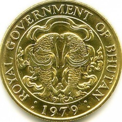 Coin > 25 chhertum, 1979 - Bhutan  (Aluminium-Bronze /yellow color/) - obverse