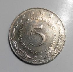 Moneda > 5dinares, 1978 - Yugoslavia  - reverse