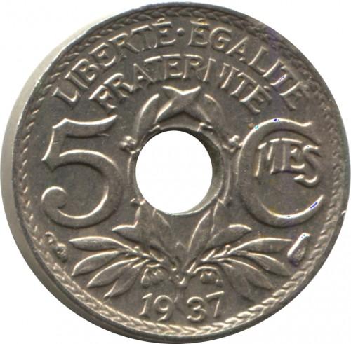 5 Centimes 1937 Loch In Der Mitte Frankreich Münzen Wert