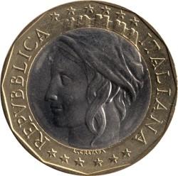 Pièce > 1000lires, 1997 - Italie  (Union européenne, confondu sur la carte - RDA et RFA) - obverse