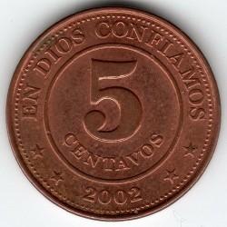 Pièce > 5centavos, 2002 - Nicaragua  - obverse