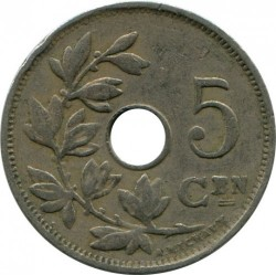 Münze > 5 Centimes, 1910-1931 - Belgien  (Legend in Dutch - 'KONINGRIJK BELGIË') - obverse