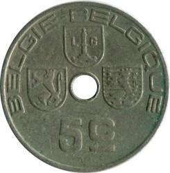 """Minca > 5centimes, 1939-1940 - Belgicko  (Nadpis - """"BELGIE-BELGIQUE"""") - reverse"""
