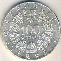 Кованица > 100шилинга, 1975 - Аустриа  (150th Anniversary - Birth of Johann Strauss II) - reverse
