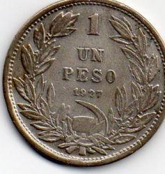 Coin > 1peso, 1927 - Chile  - obverse