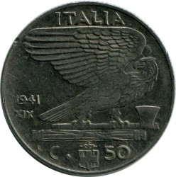 Монета > 50чентезими, 1939-1943 - Италия  - obverse