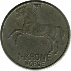 Mynt > 1krone, 1958-1973 - Norge  - obverse