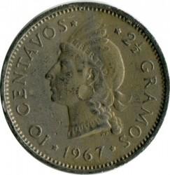 Coin > 10centavos, 1967-1975 - Dominican Republic  - reverse