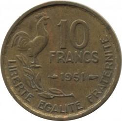 Minca > 10francs, 1950-1958 - Francúzsko  - reverse