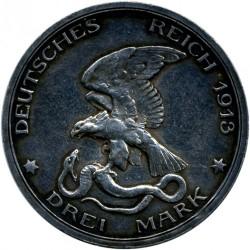 Moneda > 3marcos, 1913 - Alemán (Imperio)  (100º Aniversario - Declaración de Guerra a Francia) - reverse