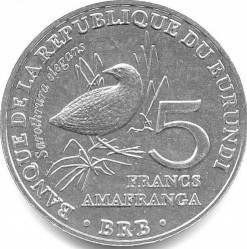 Münze > 5Franken, 2014 - Burundi   (Birds - Buff-Spotted Flufftail (Sarothrura elegans)) - reverse