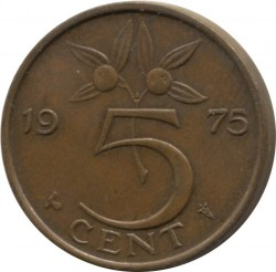 Coin > 5 cents, 1975 - Netherlands  - reverse