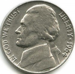 Coin > 5 cents (half dime), 1964 - USA  - obverse