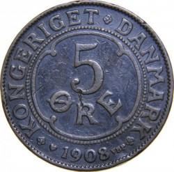 Münze > 5Öre, 1908 - Dänemark   - reverse