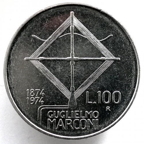"""Italy 100 lire 1974 km#102 /""""Guglielmo Marconi/"""" UNC"""