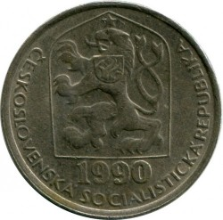 Moneda > 50hellers, 1990 - Checoslovaquia  - reverse