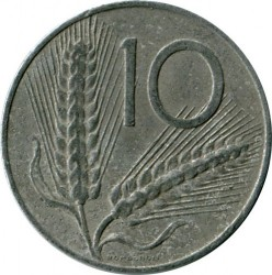 Coin > 10 lire, 1956 - Italy  - obverse
