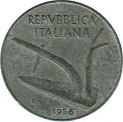 Coin > 10 lire, 1956 - Italy  - reverse