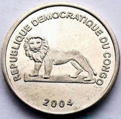 Մետաղադրամ > 1ֆրանկ, 2004 -  Կոնգոյի Դեմոկրատական Հանրապետություն  (Animal - African Golden Cat) - obverse