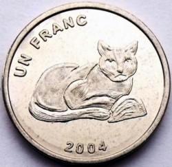 Մետաղադրամ > 1ֆրանկ, 2004 -  Կոնգոյի Դեմոկրատական Հանրապետություն  (Animal - African Golden Cat) - reverse