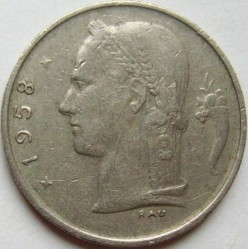 Coin > 1 franc, 1958 - Belgium  (Legend in Dutch - 'BELGIE') - reverse