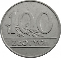 Coin > 100 zlotych, 1990 - Poland  - reverse