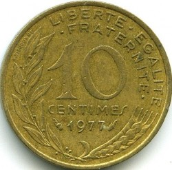 Coin > 10 centimes, 1977 - France  - reverse